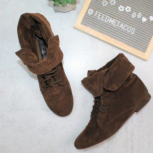 Breckelle's Brown Suede Foldable Booties
